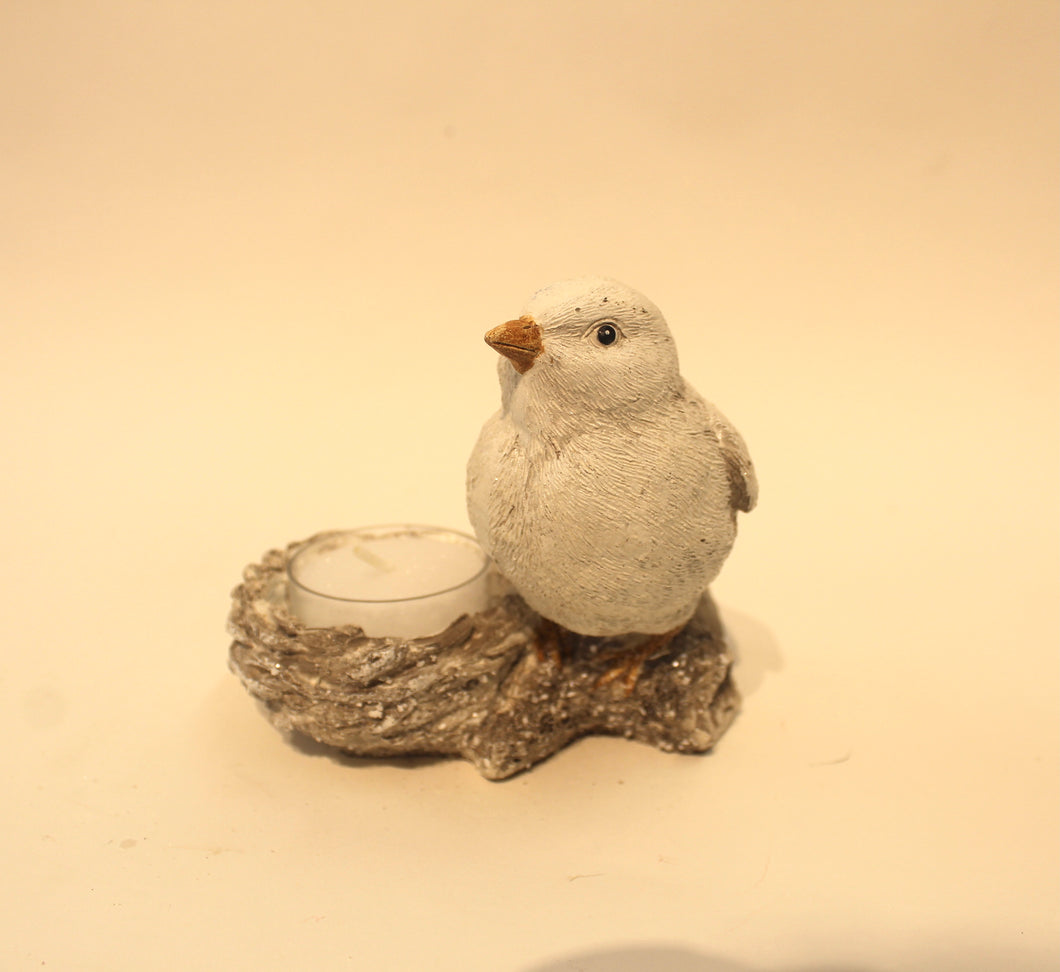 Frosted White Bird With Tea Light