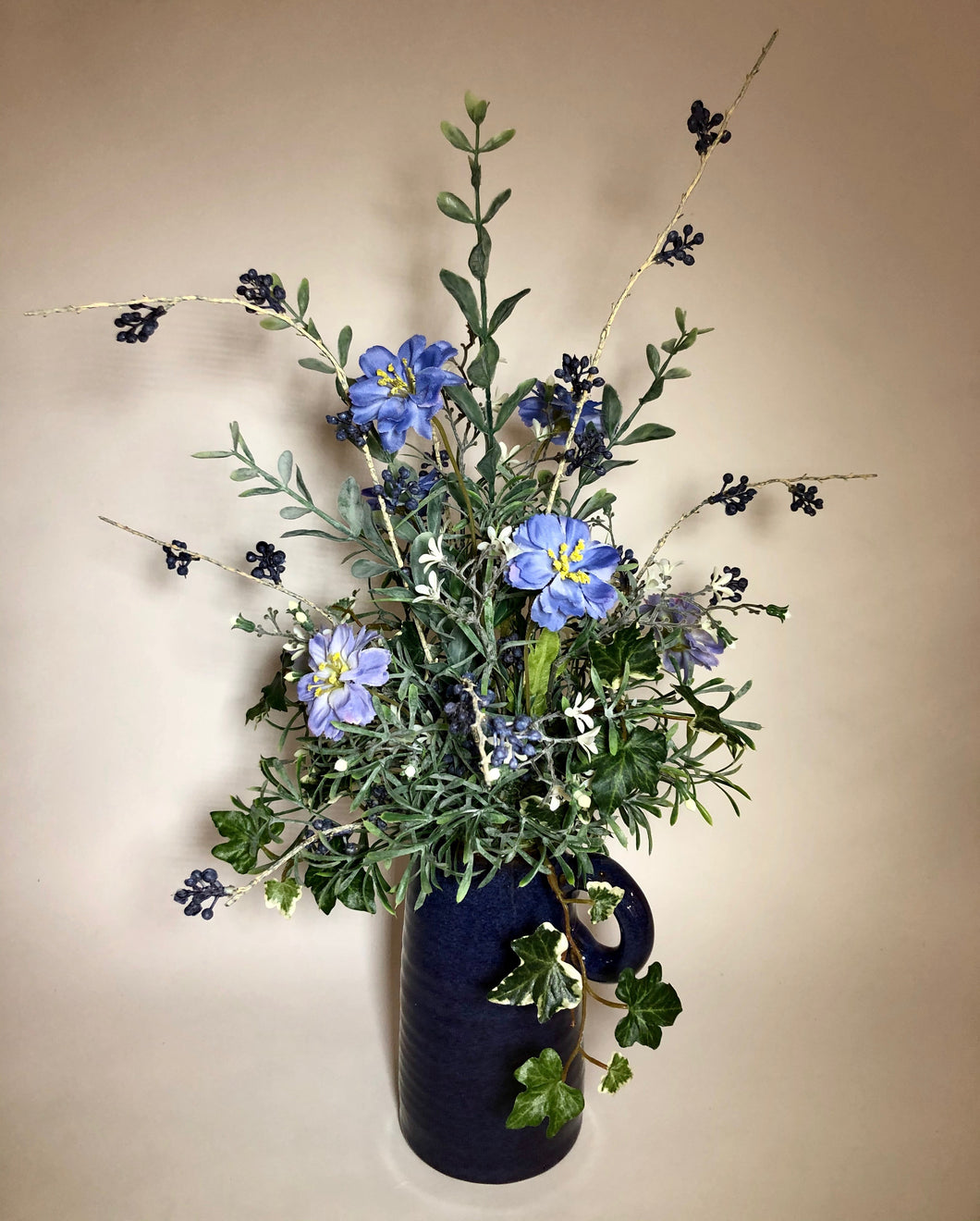 Blue Pitcher with Cosmos