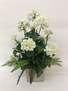 White Geranium Arrangement