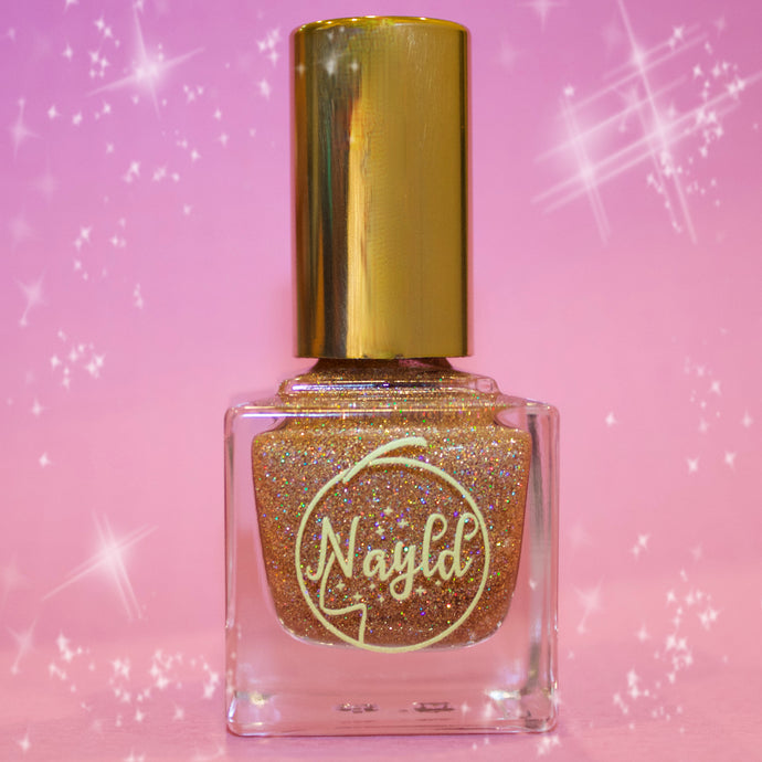 gold holo, glitter vegan nail polish with opi specs of pink and silver non toxic nail polish that is safe for kids and pregnancy, made without chemicals. Grow your nails & strengthen your nails., cruelty-free