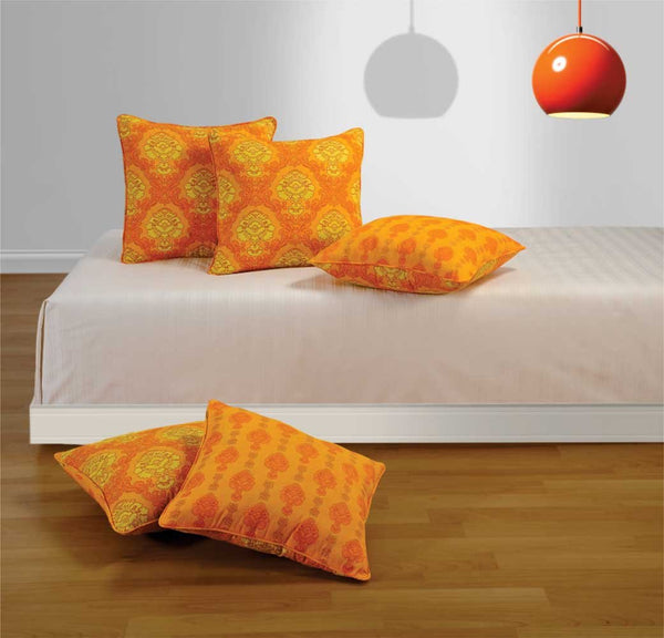 Swayam Drape and Dream Cotton 5 Piece Cushion Cover Set - Yellow (CC125-1451)