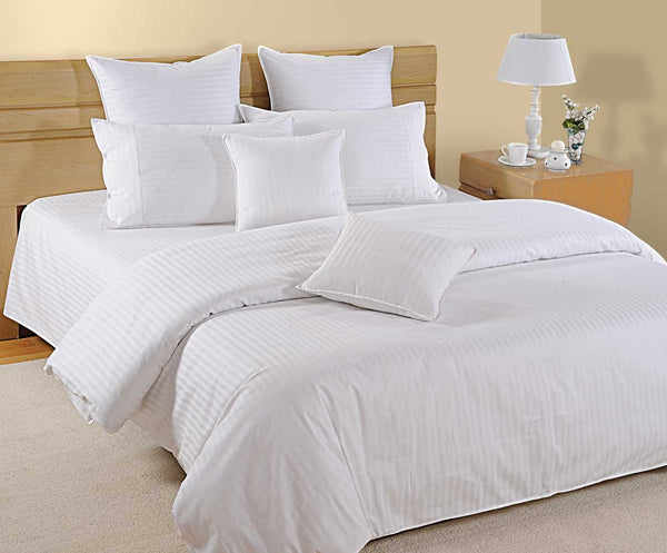 Swayam Plain Satin Damask Cotton Bedsheet with 2 Pillow Covers - King Size, White