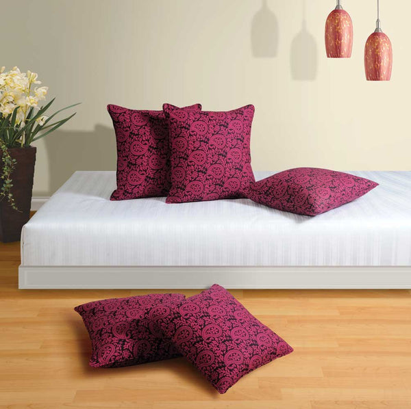 Swayam Drape and Dream Cotton 5 Piece Cushion Cover Set - Magenta and Black (CC125-7021)