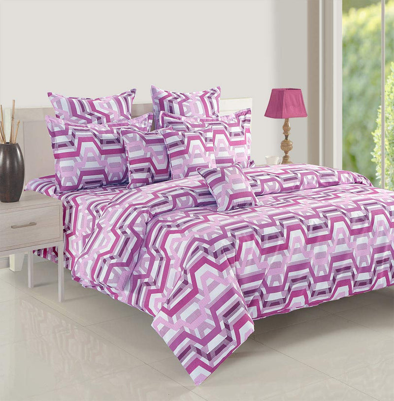 Swayam 144 TC Geometrical Print Cotton Fitted Double Bed Sheet with 2 Pillow Cover - Purple, White1,999.00
