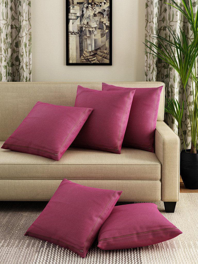 Swayam Plain Solid Cushion Cover Set of 5
