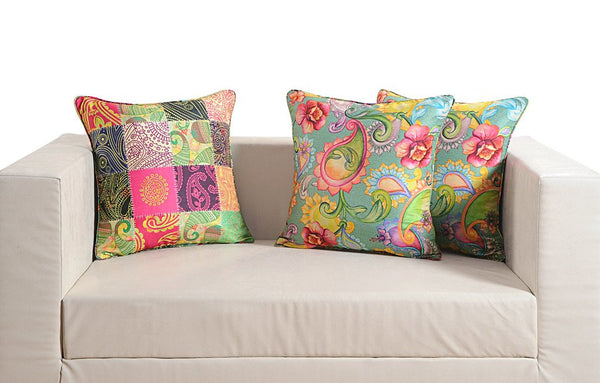 "Swayam Deco Digitally Printed 2 Piece Faux Silk Cushion Cover Set - 16""x16"", Multicolor"