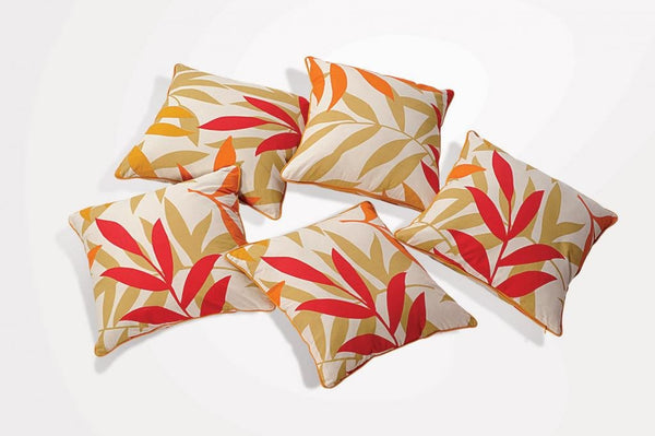 Swayam Drape and Dream Printed Cotton 5 Piece Cushion Cover Set - Yellow (CC165-5904)