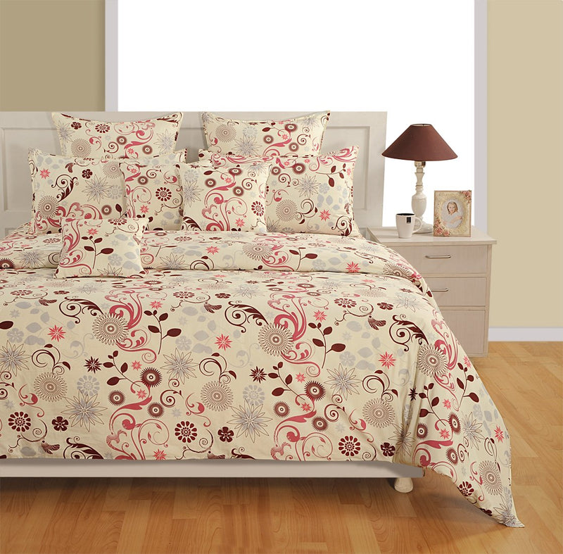 Swayam Shades of India 180 TC 4 Piece Cotton Double Bed in a Bag - Floral, Off White