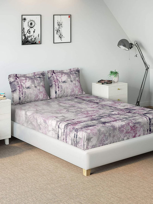 DDECOR Live beautiful 136 TC Cotton 1 Double Bedsheet with 2 Pillow Covers, King Size, Abstract (Purple)