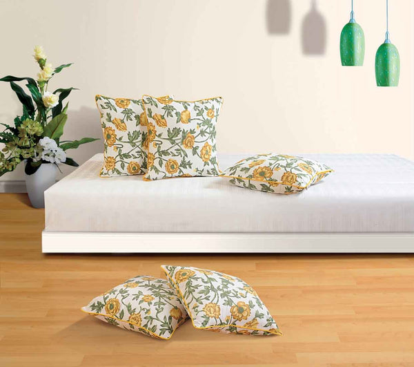 Swayam Drape and Dream Printed Cotton 5 Piece Cushion Cover Set - Yellow (CC125-3701)