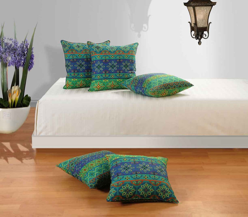 Swayam Drape and Dream Printed Cotton 5 Piece Cushion Cover Set - Blue Multi (CC165-1423)