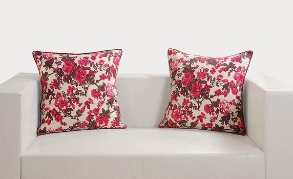 Swayam Drape and Dream Printed Cotton 5 Piece Cushion Cover Set - Wine (CC165-2712), Multicolour