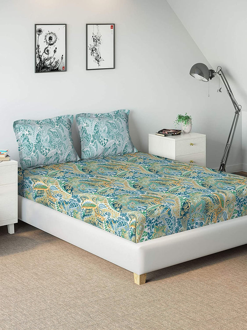 DDECOR Live beautiful Cotton 136 TC Bedsheet (King_Blue)