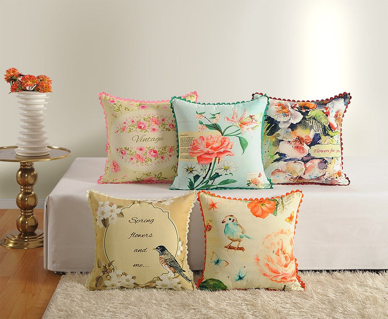 Swayam Assorted Canvas Cushion Cover Set of 5