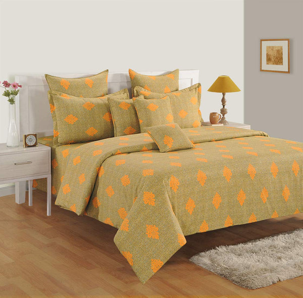 Swayam 180 TC Motifs Print Cotton Single Bed Sheet with 1 Pillow Cover - Yellow, Brown-(13001-SBS)