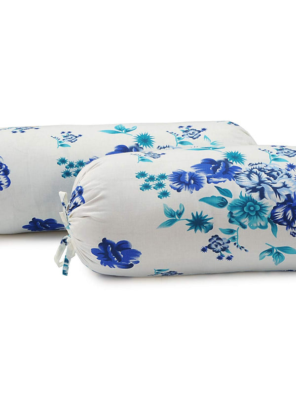 Swayam Floral Cotton Bolster Cover (Multicolour, 30x30-inch) - Set of 2