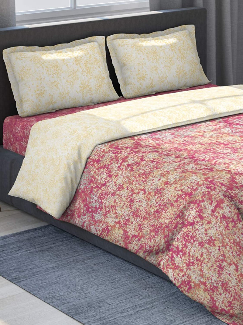 DDECOR Live beautiful Cotton 180 TC Bedding Set (Double_Red)