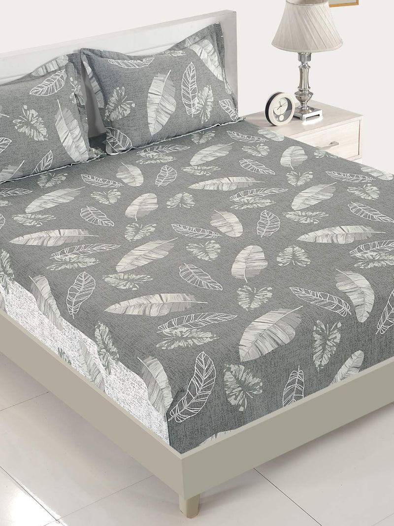 Swayam 200 TC Abstract Print Cotton Double Bed Sheet with 2 Pillow Cover - Grey, White