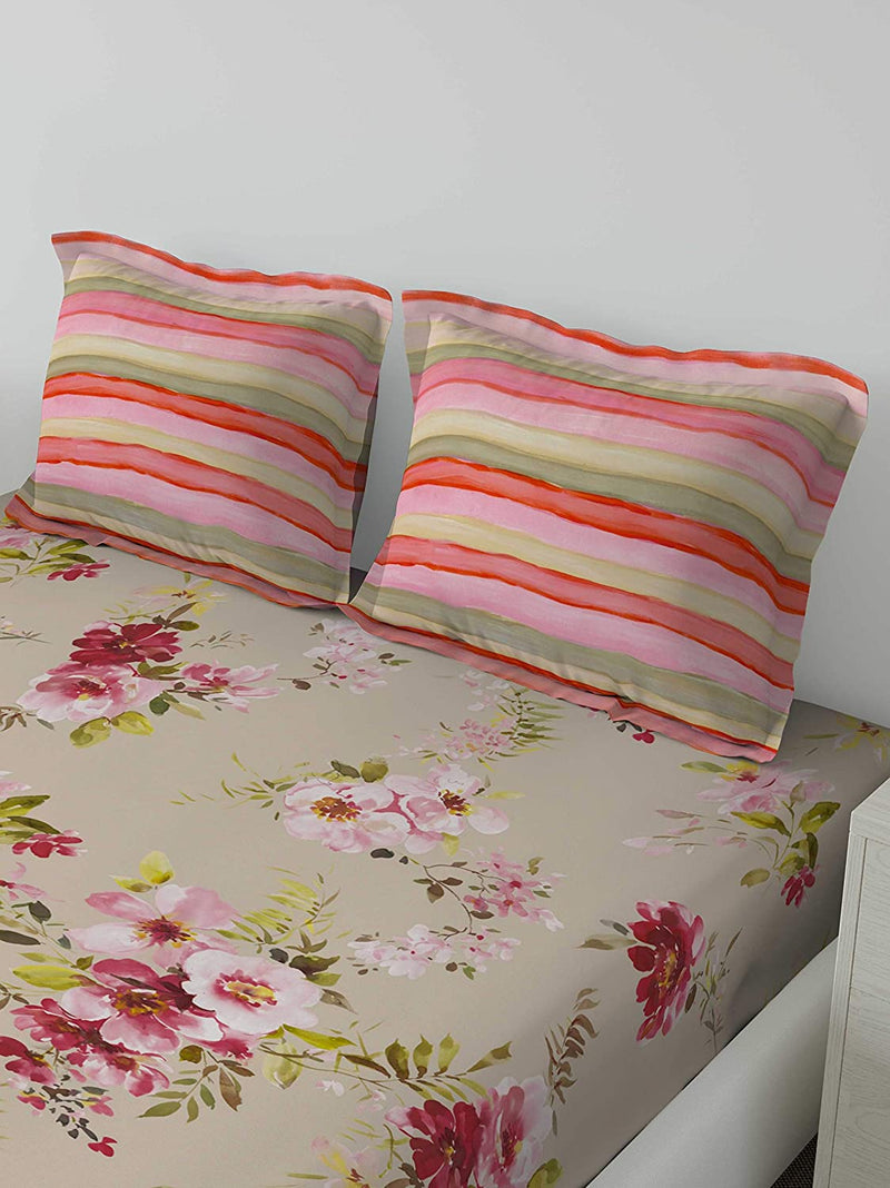 D'Decor 150TC Cotton Double Bedsheet with 2 Pillow Covers - King Size, Floral, Red
