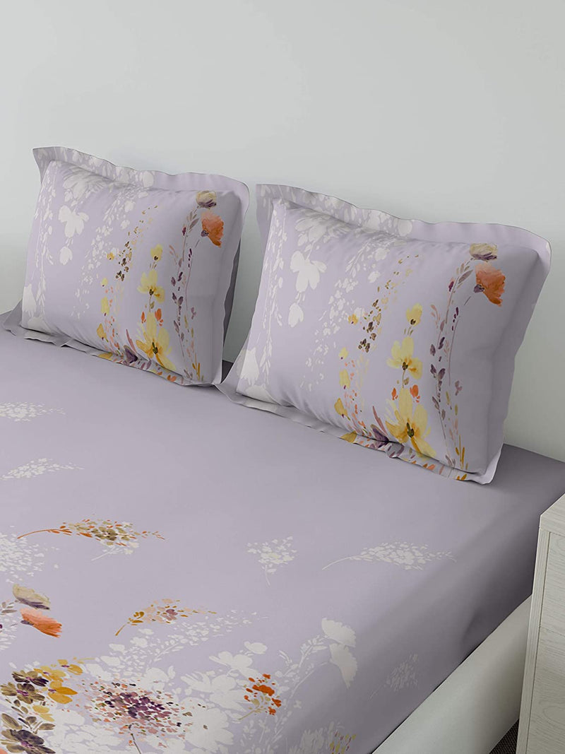 DDECOR Live beautiful 136 TC Cotton Floral Double Bedsheet with 2 Pillow Covers (107 x 107-inch/274 X 274 cm/King Size, Purple)