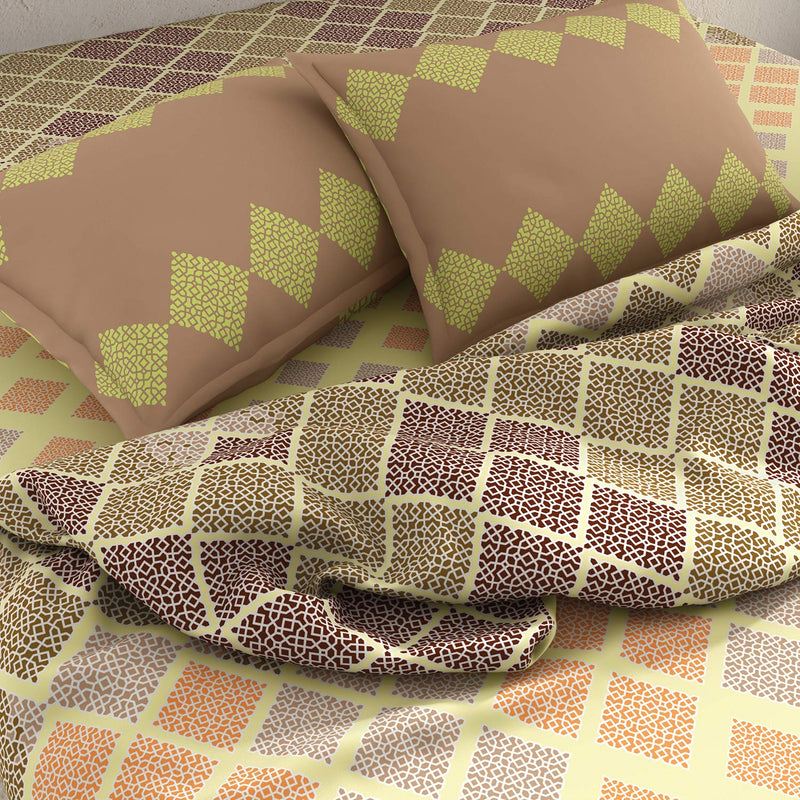 SPACES Bohochic 144 TC Cotton Brown Double Bedsheet with 2 Pillow Covers