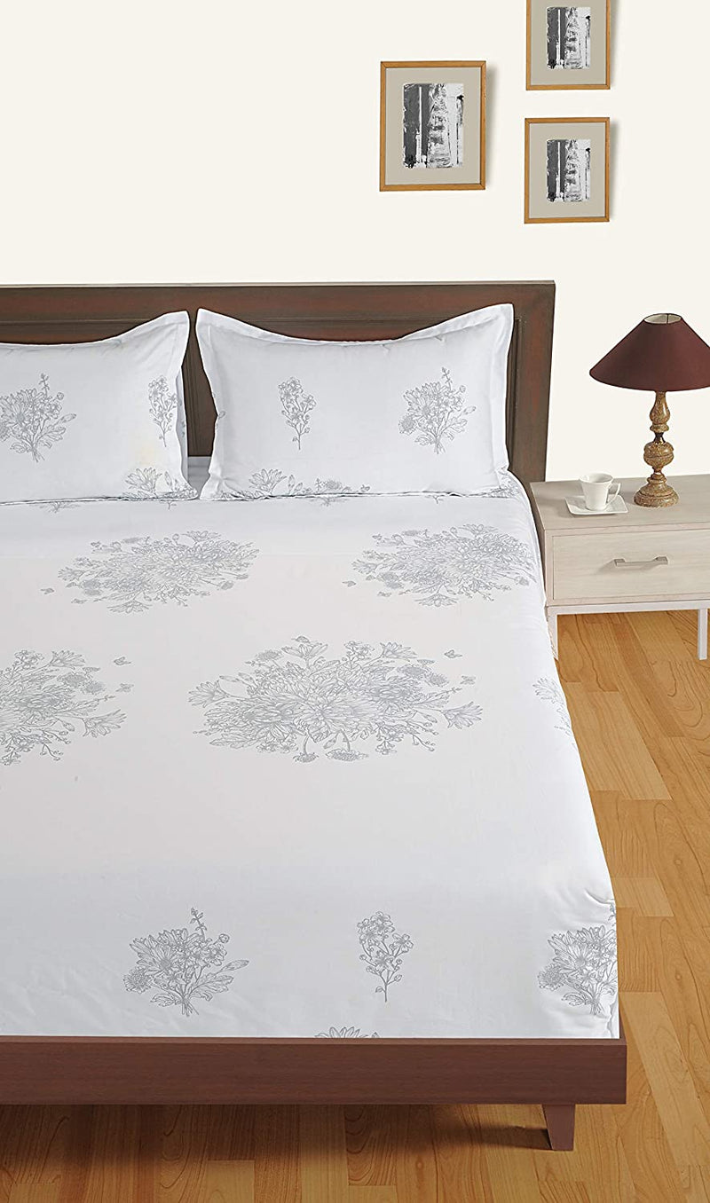 Swayam 250 TC Ethinic Print Cotton Satin Fitted Double Bed Sheet with 2 Pillow Cover - White, 0