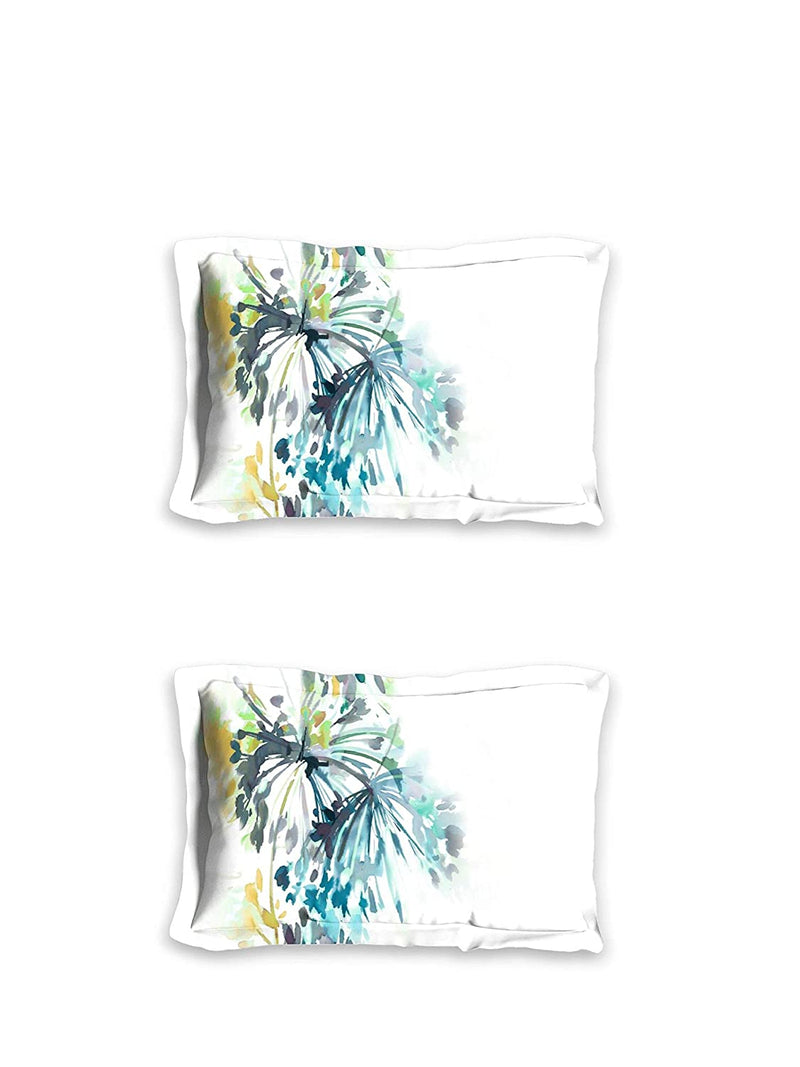 D'Decor 140 TC Cotton 1 Double bedsheet with 2 Pillow Covers - Double Queen, Abstract, Turquoise