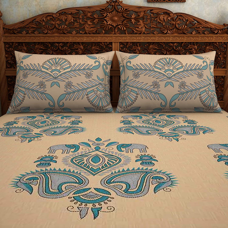 SPACES Rangana Blue 210 TC 100% Cotton Printed Large Bed Sheet with 2 Pillow Covers