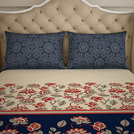 SPACES 210 TC Microfibre 1 Double Bedsheet with 2 Pillow Covers, Floral, Double, Blue & Brown
