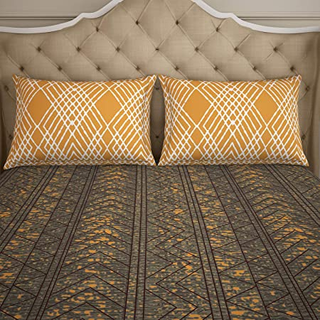 SPACES Atrium Brown & Yellow Strips 1 Double Bed Sheet with 2 Pillow Covers