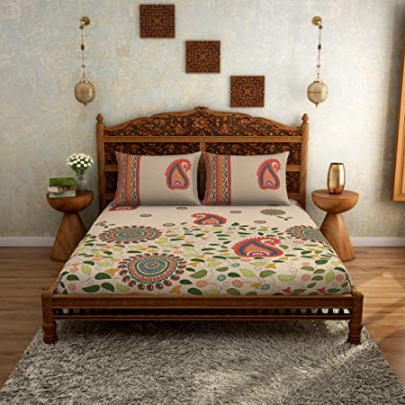 SPACES Rangana Beige 210 TC 100% Cotton Printed Large Bed Sheet with 2 Pillow Covers