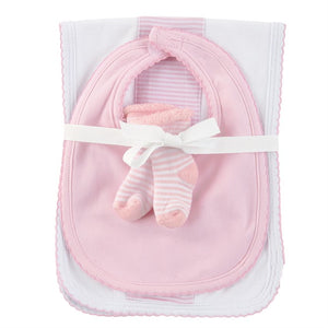 baby burp,bib & sock set