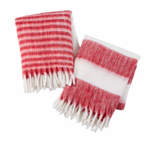 red & white stripe throw