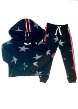 Load image into Gallery viewer, girls crop hoodie with taping & stars