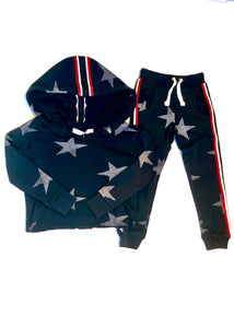 girls crop hoodie with taping & stars