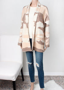 camo sweater coat