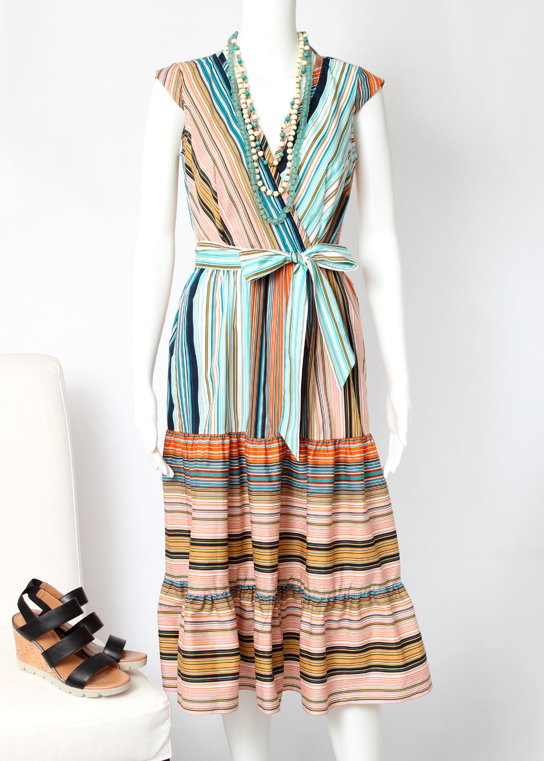 midi stripe wrap dress