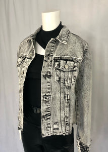 washed crop denim jacket