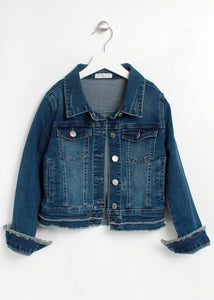 fray hem crop denim jacket-girls