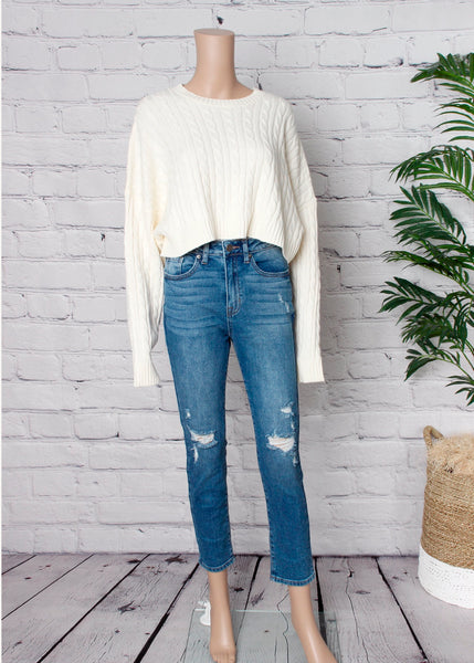 crop cable dolman sweater