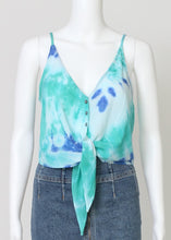 Load image into Gallery viewer, tie dye tie front cami-cropped