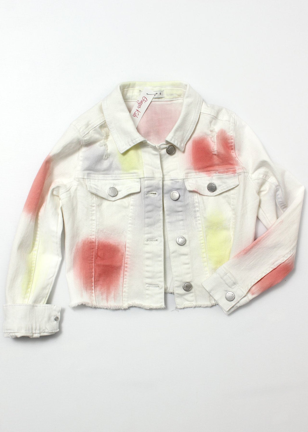 girls white tie dye denim jacket