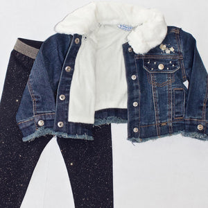 girls fur collar denim jacket
