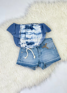 girls fray hem denim shorts