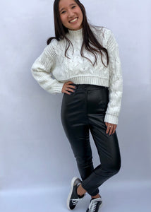 cable crop sweater