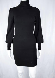 rib turtle neck sweater dress