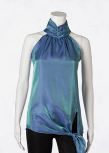 iridescent tie neck halter top