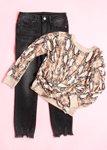 girls snake print twist top
