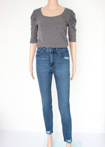 high rise distressed skinny jean