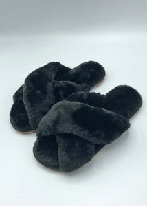 faux fur x slipper